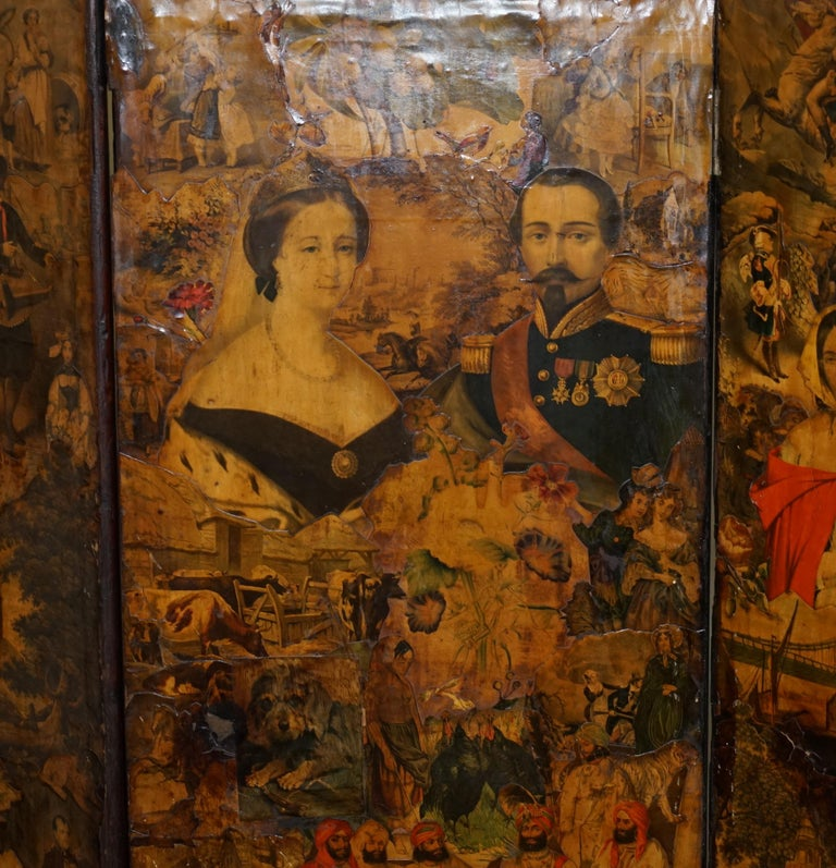 Mahogany Rare Stunning 19th-20th Century Romantic Decoupage Four-Panel Folding Screen For Sale
