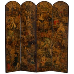 Rare Stunning 19th-20th Century Romantic Decoupage Four-Panel Folding Screen
