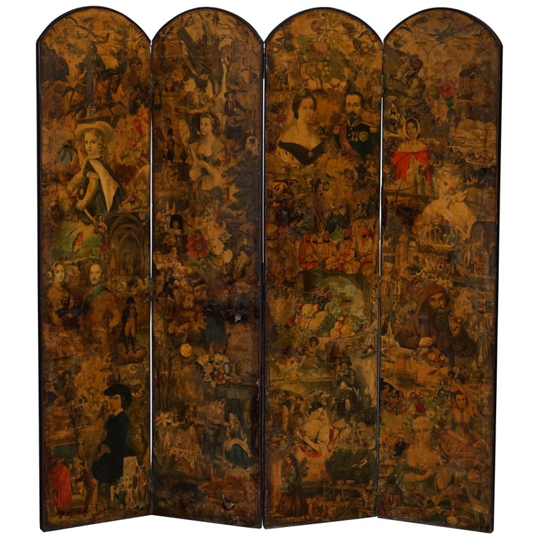 Rare Stunning 19th-20th Century Romantic Decoupage Four-Panel Folding Screen For Sale