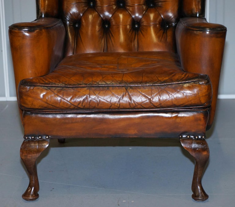 Rare Stunning William Morris Cigar Brown Leather Chesterfield Wingback Armchair For Sale 3