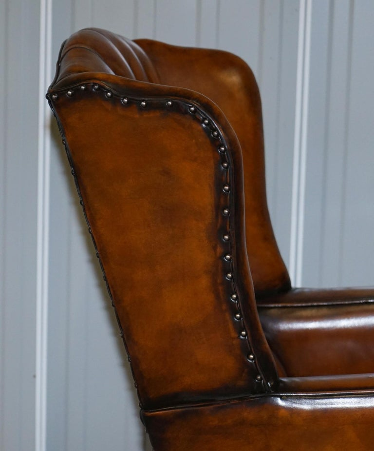 Rare Stunning William Morris Cigar Brown Leather Chesterfield Wingback Armchair For Sale 6