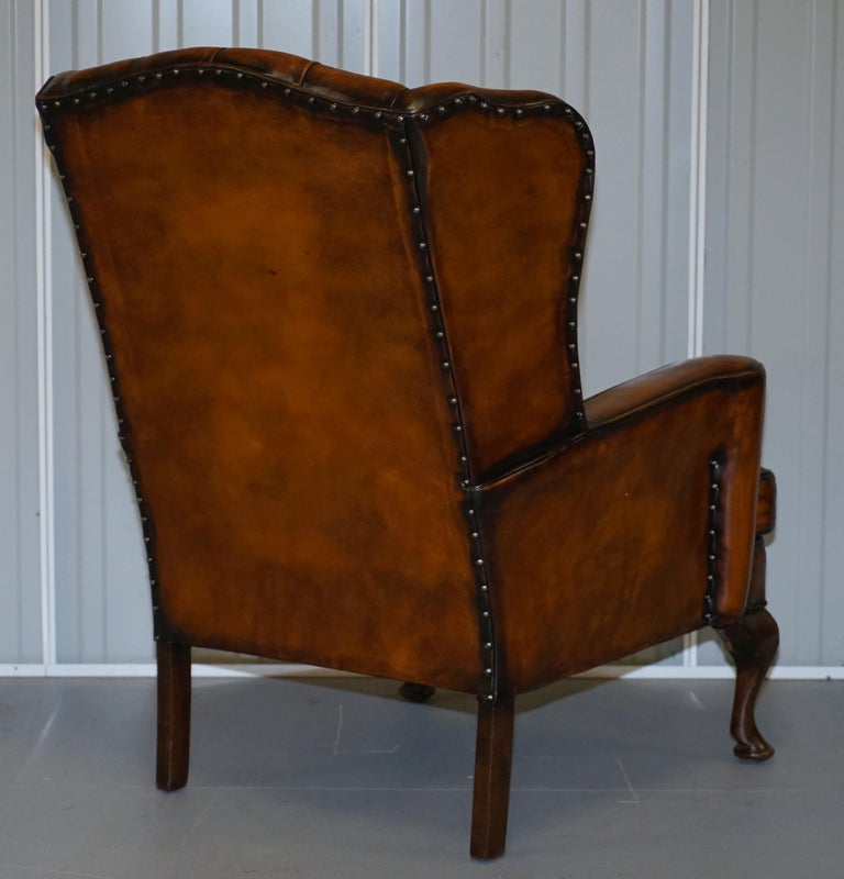 Rare Stunning William Morris Cigar Brown Leather Chesterfield Wingback Armchair For Sale 7