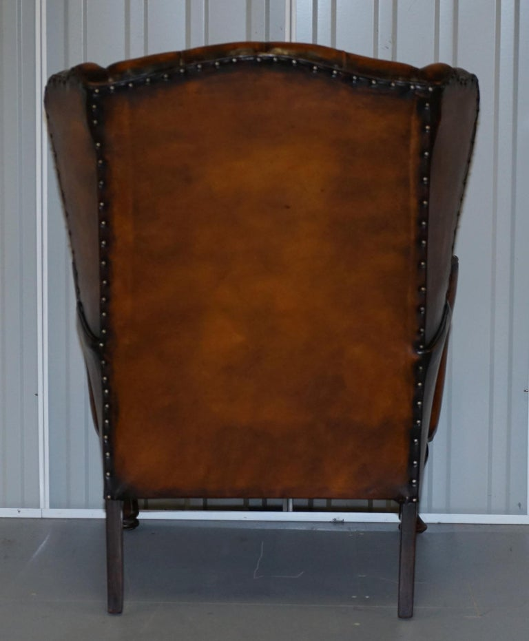 Rare Stunning William Morris Cigar Brown Leather Chesterfield Wingback Armchair For Sale 8