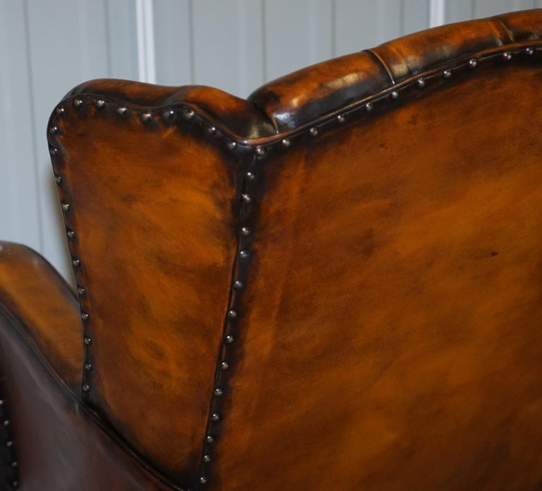 Rare Stunning William Morris Cigar Brown Leather Chesterfield Wingback Armchair For Sale 10