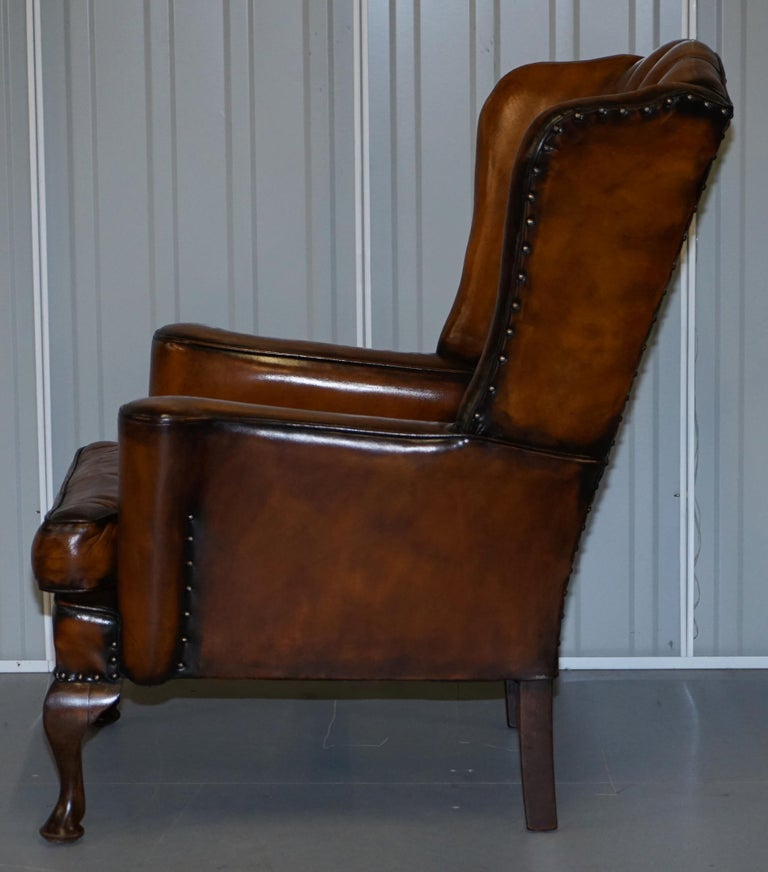 Rare Stunning William Morris Cigar Brown Leather Chesterfield Wingback Armchair For Sale 11