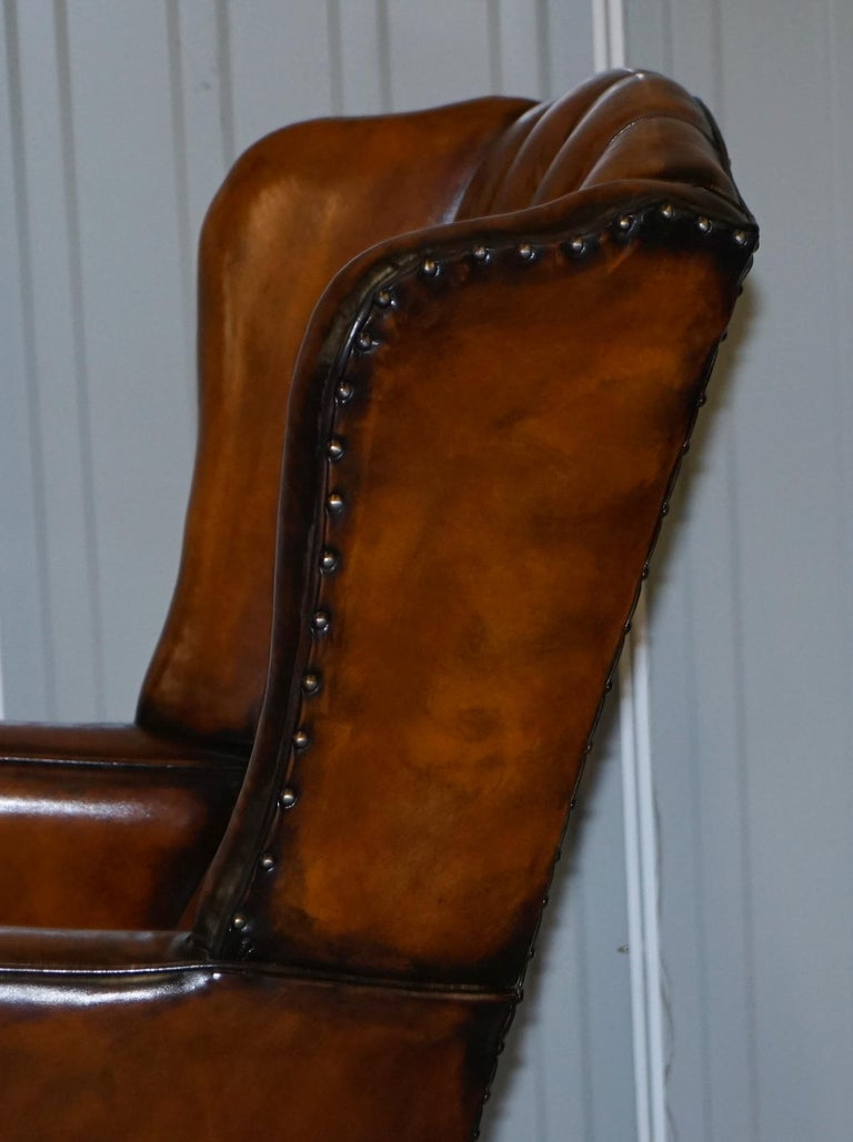 Rare Stunning William Morris Cigar Brown Leather Chesterfield Wingback Armchair For Sale 13