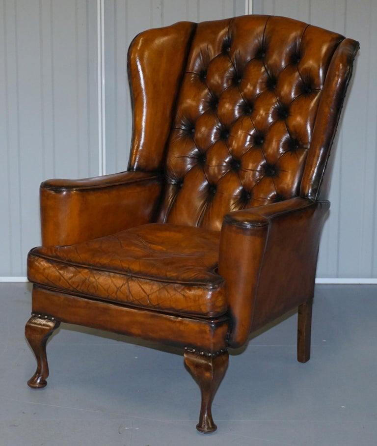 Victorian Rare Stunning William Morris Cigar Brown Leather Chesterfield Wingback Armchair For Sale
