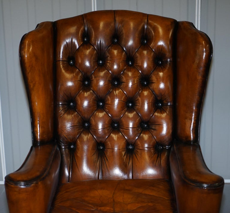 English Rare Stunning William Morris Cigar Brown Leather Chesterfield Wingback Armchair For Sale