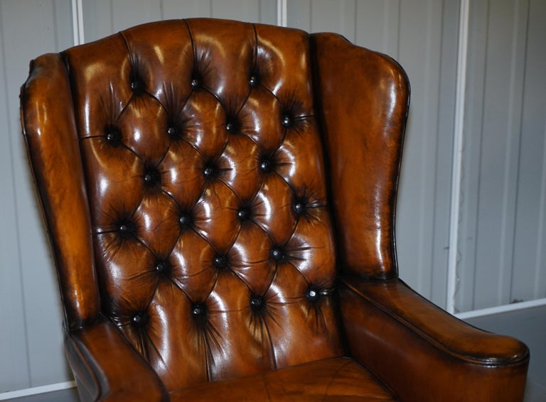 Hand-Crafted Rare Stunning William Morris Cigar Brown Leather Chesterfield Wingback Armchair For Sale