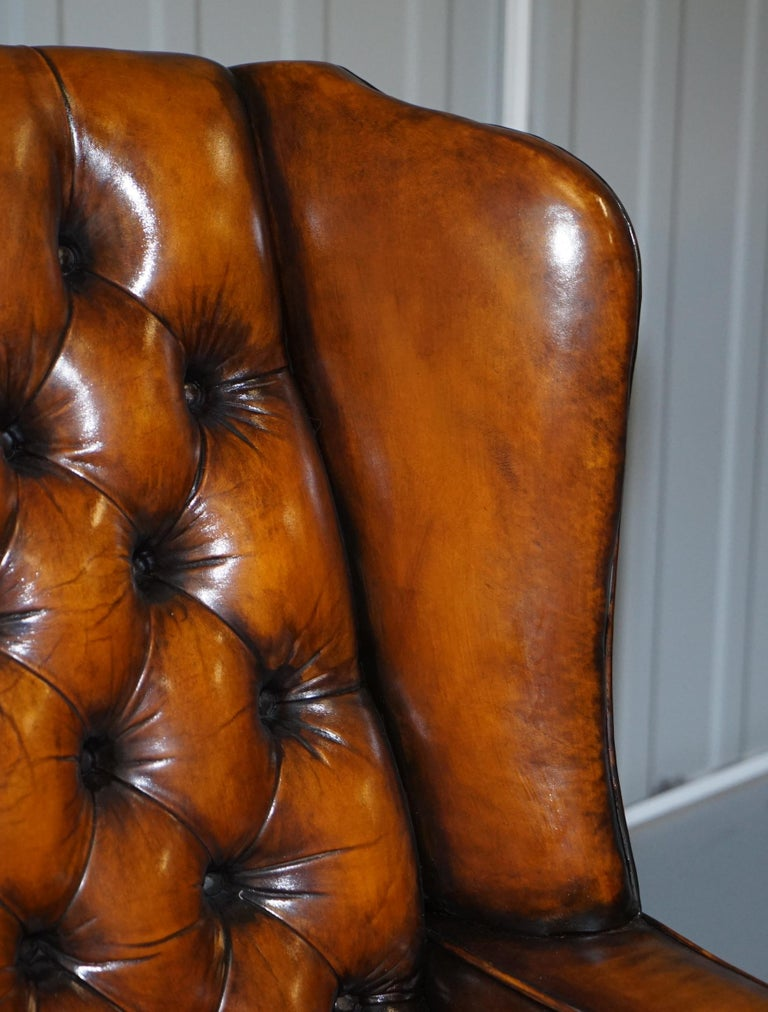 19th Century Rare Stunning William Morris Cigar Brown Leather Chesterfield Wingback Armchair For Sale