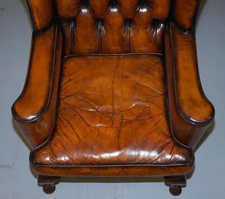 Rare Stunning William Morris Cigar Brown Leather Chesterfield Wingback Armchair For Sale 1