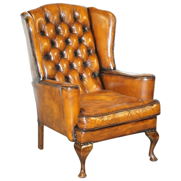 Rare Stunning William Morris Cigar Brown Leather Chesterfield Wingback Armchair For Sale
