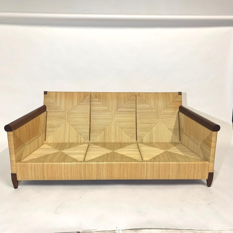 Rare and Stunning John Hutton for Donghia Mahogany and Wrapped Woven Wicker Sofa For Sale 4