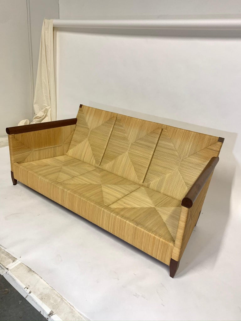 Rare and Stunning John Hutton for Donghia Mahogany and Wrapped Woven Wicker Sofa For Sale 6