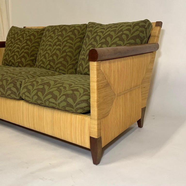 Rare and Stunning John Hutton for Donghia Mahogany and Wrapped Woven Wicker Sofa For Sale 9
