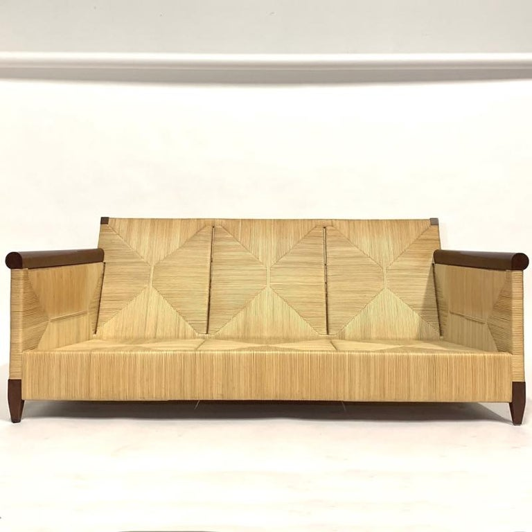 Absolutely stunning and very hard to find sofa designed by John Hutton for Donghia designs. From the Merbau collection. These Pieces are quite rare and demonstrate the talent for original design brought to Donghia by Hutton who was director from