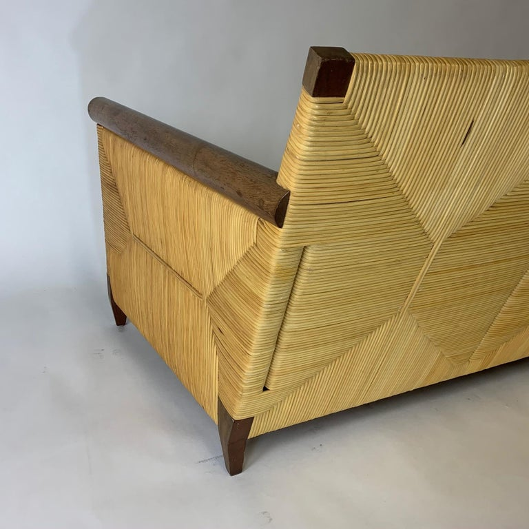 Mid-Century Modern Rare and Stunning John Hutton for Donghia Mahogany and Wrapped Woven Wicker Sofa For Sale