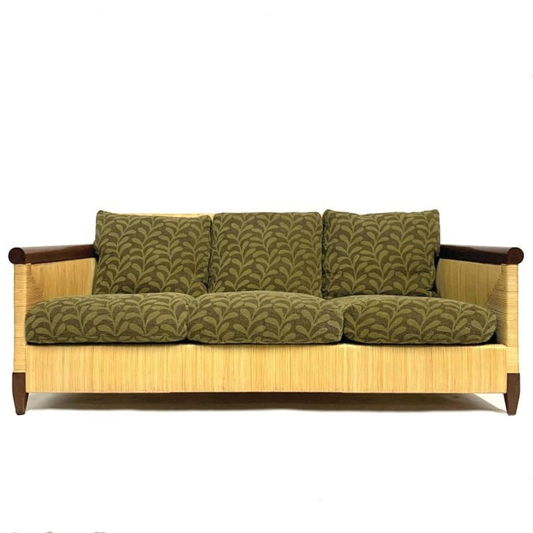 American Rare and Stunning John Hutton for Donghia Mahogany and Wrapped Woven Wicker Sofa For Sale