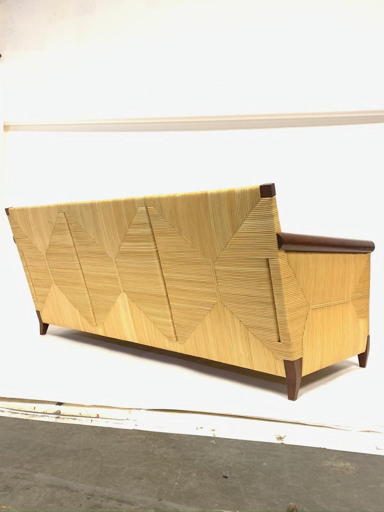 Rare and Stunning John Hutton for Donghia Mahogany and Wrapped Woven Wicker Sofa For Sale 2