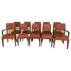 Rare Suite of 8 Art Deco Chairs and 2 Mahogany and Leather Armchairs i