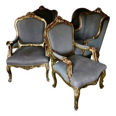 Rare Suite of Four Venetian Rococo Armchairs, Italy, End of the 19th Century