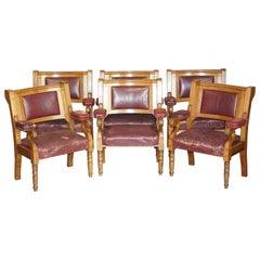 Rare Suite of Six Very Large Original Leather Golden Oak Freemason's Armchairs