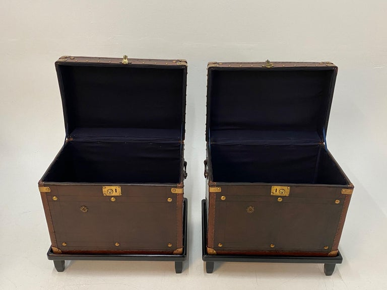Rare Superb Pair of Leather Military Trunks on Stands with Brass Decoration For Sale 8