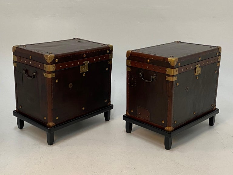 Rare Superb Pair of Leather Military Trunks on Stands with Brass Decoration For Sale 9