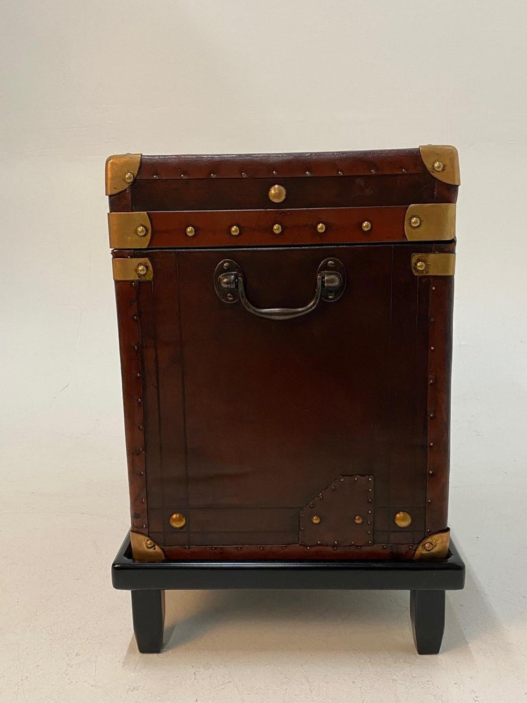 Campaign Rare Superb Pair of Leather Military Trunks on Stands with Brass Decoration For Sale