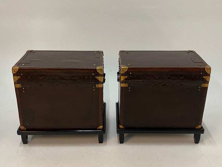 Rare Superb Pair of Leather Military Trunks on Stands with Brass Decoration For Sale 1