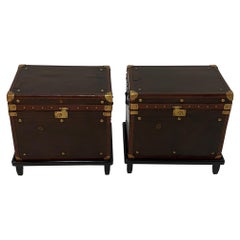 Rare Superb Pair of Leather Military Trunks on Stands with Brass Decoration