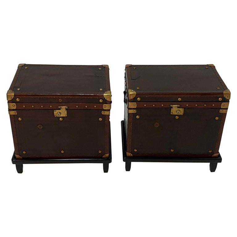Rare Superb Pair of Leather Military Trunks on Stands with Brass Decoration For Sale