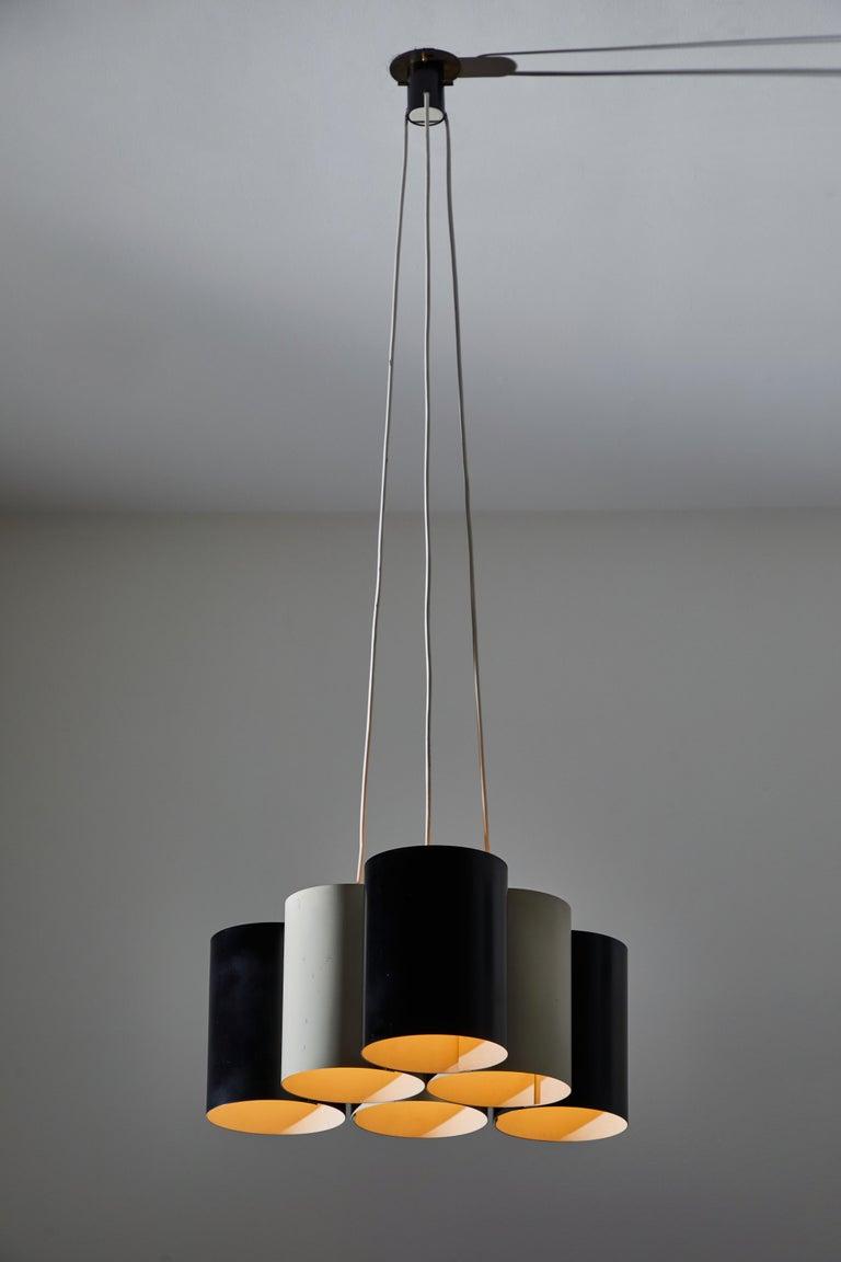 Enameled Rare Suspension Light by Stilnovo For Sale