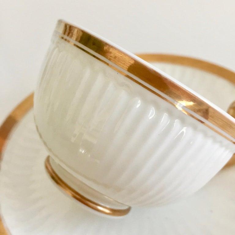 Swansea Porcelain Tea Set, Tea & Breakfast Cup White and Gilt, Regency ca 1820 For Sale 5