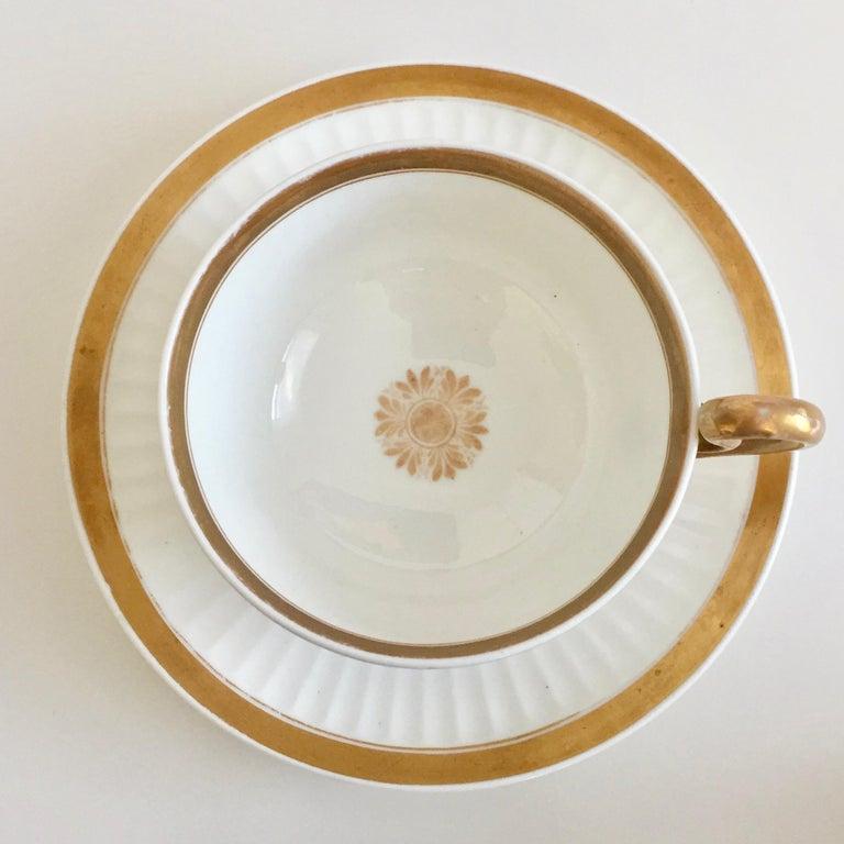 Early 19th Century Swansea Porcelain Tea Set, Tea & Breakfast Cup White and Gilt, Regency ca 1820 For Sale