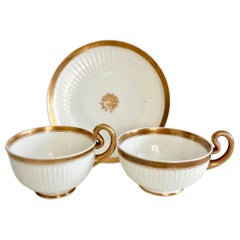 Swansea Porcelain Tea Set, Tea & Breakfast Cup White and Gilt, Regency ca 1820