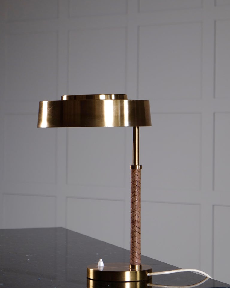 Scandinavian Modern Rare Swedish Brass and Leather Table Lamp, 1960s For Sale