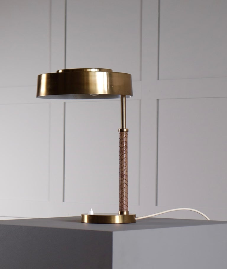 Rare Swedish Brass and Leather Table Lamp, 1960s For Sale 1