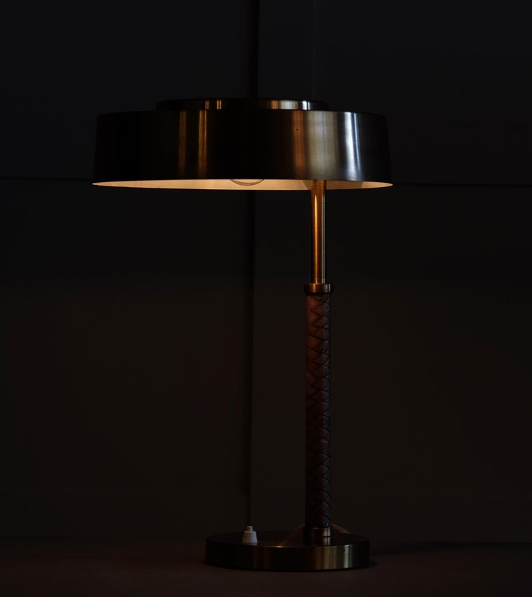 Rare Swedish Brass and Leather Table Lamp, 1960s For Sale 2