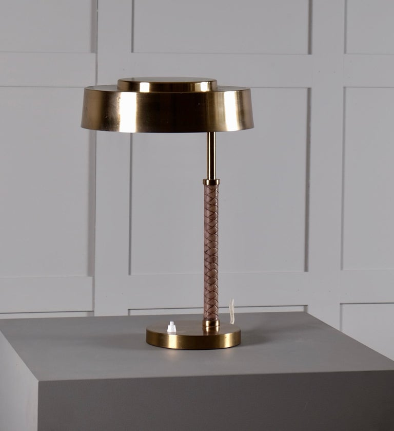 Rare Swedish Brass and Leather Table Lamp, 1960s For Sale 4