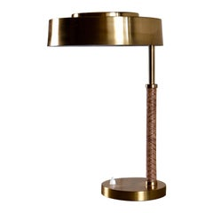 Rare Swedish Brass and Leather Table Lamp, 1960s