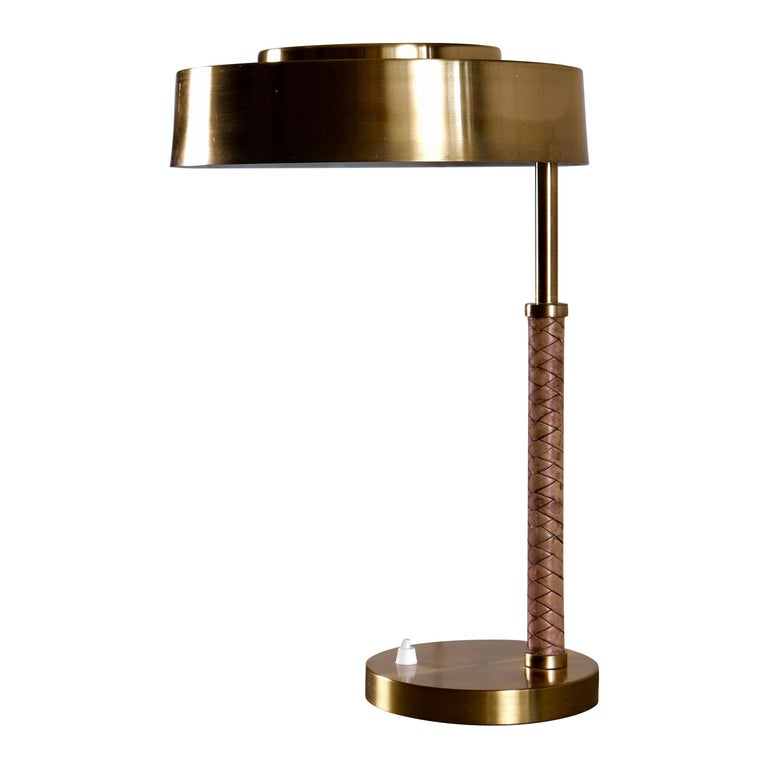 Rare Swedish Brass and Leather Table Lamp, 1960s For Sale