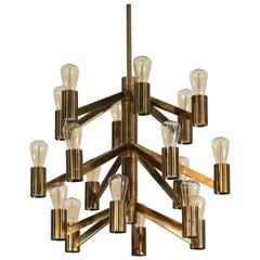 Rare Swedish Chandelier by Axel Annell Lystral Scandinavian Brass Scandinavian
