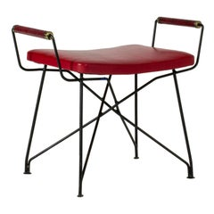 Rare Swedish Metal and Leather Stool by Hans-Agne Jakobsson, 1960s