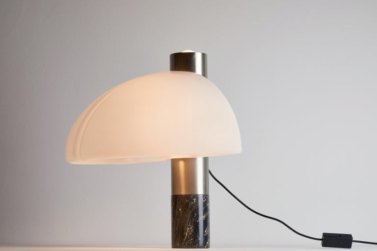 Rare table lamp by Sergio Mazza and Giuliana Gramigna for Quattrifolio Design. Designed and manufactured in Italy, circa 1970s. Original aluminum, marble and perspex. Rewired for U.S. standards. Original cord. This fixture has two sockets. We