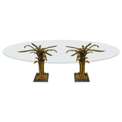 "Rare Table ""Water Leaves"", Chrystiane Charles for Maison Charles, France, 1970"