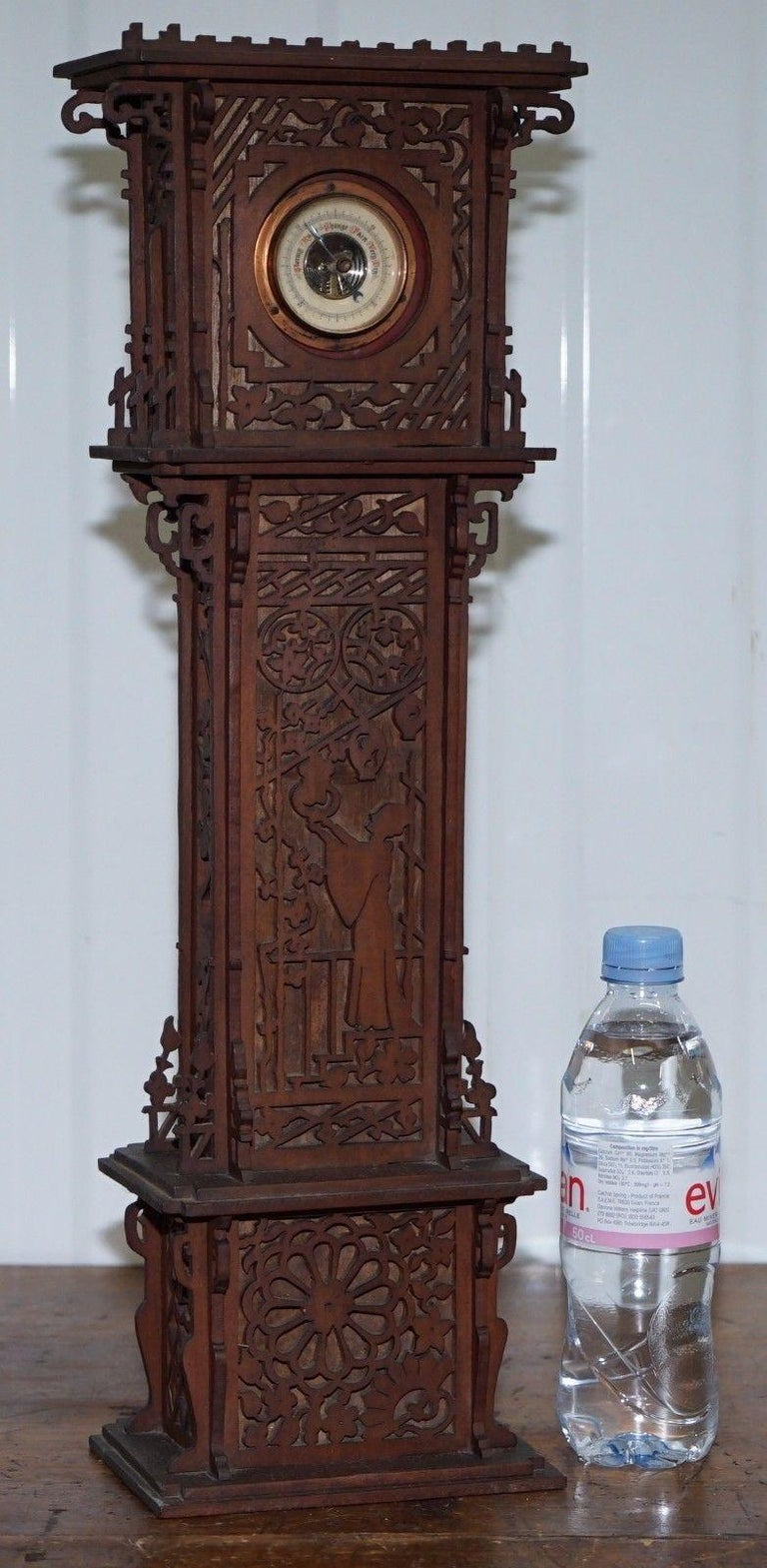 Rare Tall 19th Century Continental Walnut Fret Carved Barometer Oriental For Sale 5