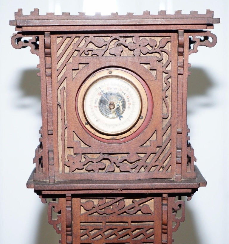 We are delighted to offer for sale this stunning 19th century continental walnut fret carved barometer  This piece looks to have a bit of the oriental about it to me, the carving just looks eastern, its early 19th century, seems to be working just