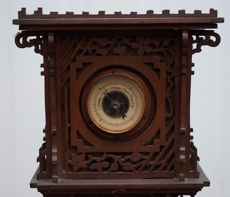 Victorian Rare Tall 19th Century Continental Walnut Fret Carved Barometer Oriental For Sale