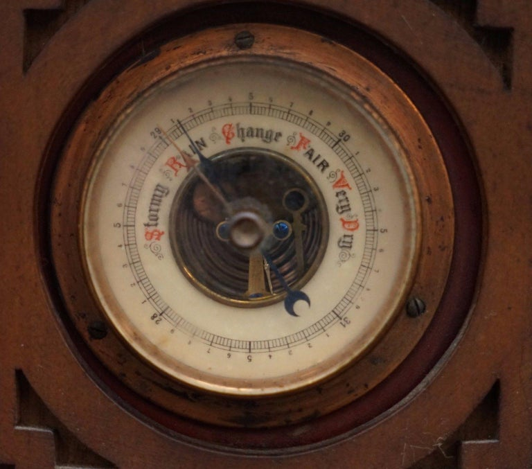 English Rare Tall 19th Century Continental Walnut Fret Carved Barometer Oriental For Sale